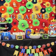 The ultimate Paw Patrol birthday! 🐾🚒🚨 I loved working with this mama and helping turn an eye sore of a wall into the star of the party! #pawpatrolparty #pawpatrol #paperfanbackdrop #desserttable #photography #birthdayparty #smashcake