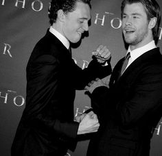 Tom Hiddleston and Chris Hemsworth. God, guys. Be more adorable, why don't you.