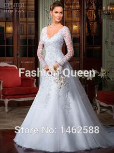 Sweep Train Long Sleeves Open Back Wedding Dress Lace Bridal Gowns 2015 Vintage Style