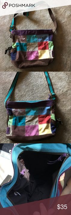 Lucky Brand tote! FIRM This is huge! 100% leather. Diff types of material patch worked together. Well loved but zero flaws, see pics. The corners/handles are even in great condition! Could use a cleaning. This is a steal! Retails for over $150. Thanks! *** I am not accepting offers, this is already a steal!*** Lucky Brand Bags Totes