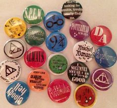 Harry Potter Badges - pinback buttons - set of 20 - mischeif managed - weasley - horcrux - spew