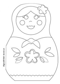 Russian Doll Paper Craft Coloring Page