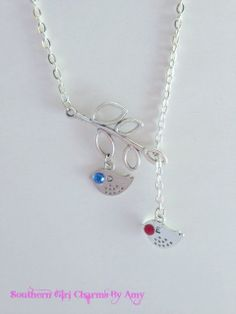 Mothers  Necklace birthstone jewelry gifts by SouthernGirlCharmsAM, $18.00