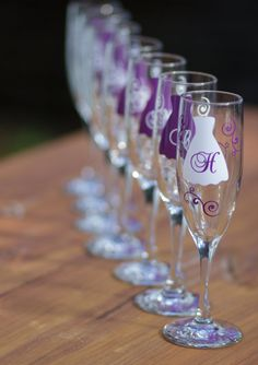 Bride and Bridesmaids champagne glasses by WaterfallDesigns