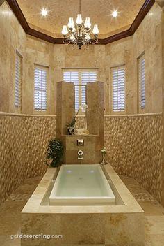 I absolutely LOVE how the shutters blend in with the design style of this bathroom!  Great design job! wow