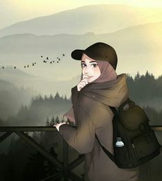 zoemoon - Best of Wallpapers for Andriod and ios Cute Cartoon Girl, Cartoon Girl Drawing, Cartoon Sketches, Cartoon Art, Girly Drawings, Anime Girl Drawings, Anime Art Girl, Hijab Drawing, Islamic Cartoon