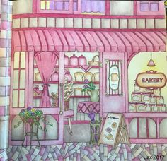 My Colorful Town by Chiaki Ida Right side: exterior of bakery part 2 Completed adult coloring page done by colorist: Jax