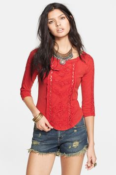 Free People 'Truly Madly' Crochet Trim Tee by Free People on @nordstrom_rack