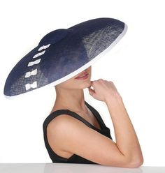 Coco Chanel inspired navy blue hat with ivory by AdrienneHenry