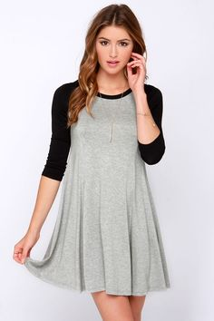 I am thinking this needs a baseball cap and converse! Swing Batter Batter Black and Grey Swing Dress at Lulus.com!