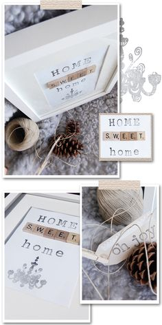 Home Sweet Home picture! This is really cute! If you have scrabble tiles, a frame and some stamps you can easily make something like this. #stylizimo #diy #crafts #home