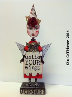 Altered Art Doll Mixed Media UNTIE YOUR WINGS Adventure by IMGirl