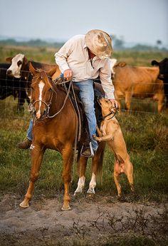 Cowboy and his dog, by Carlton Ward.  ♡... re-pin by StoneArtUSA.com ~ affordable custom pet memorials for everyone.