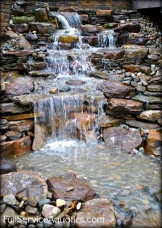 Cascading waterfall design by Full Service Aquatics of Summit, NJ 07901 Backyard Water Feature, Ponds Backyard, Backyard Waterfalls, Garden Fountains, Stone Fountains, Outdoor Fountains, Garden Waterfall, Pond Water Features, Natural Pond