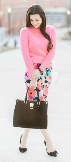 Colorful work outfit idea | Watercolor floral pencil skirt from The Mint Julep Boutique, pink J.Crew Factory crewneck teddie sweater, black bow pumps, Dasein black satchel handbag, and black Daniel Wellington Classic Petite Sheffield watch | how to wear a long pencil skirt | Watercolor Blooms: How to Wear a Floral Pencil Skirt by fashion blogger Stephanie Ziajka from Diary of a Debutante, Catherine Rhodes Photography