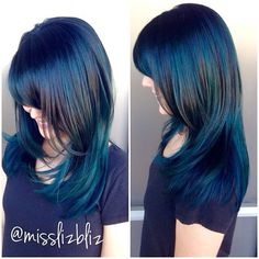 Looking for a change, designer stylist Liz @misslizbliz created this all over blue masterpiece and turned it into her natural color melted into blue. We love how this turned out and how dimensional it is. The different blues and greens it picks up depending on the lighting is AMAZING!