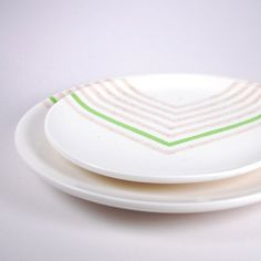 Hand painted Green Chevron Plates