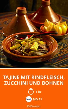 Tajine with beef, zucchini and beans - marokkanische Rezepte - Internationale Küche Snack Mix Recipes, Bean Recipes, Soup Recipes, Zucchini, Paleo Beans, Vegetable Drinks, Healthy Eating Tips, Food Menu, I Foods