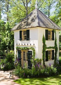 A beautiful two-story cottage in your backyard would be perfect for a guest house or an art studio! What would you use this backyard cottage for? Design Exterior, Exterior Colors, She Sheds, Cabins And Cottages, Small Cottages, Treehouse Cottages, Little Cottages, Beach Cottages, Cozy Cottage