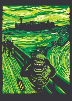 'Slimers Scream' Metal Poster Print - Dale Hutchinson | Displate Scream, Le Cri, Famous Words, Poster Prints, Metal, Recipes, Movie Posters, Beautiful, Art