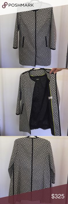 Trina Turk black white coat Trina Turk black & white square patterned coat. 6 buttons up the front. 74% cotton, 22% polyamide 4% elastane. Lining 95% polyester 5% spandex. Size 10. Worn only once!!! Trina Turk Jackets & Coats Trench Coats