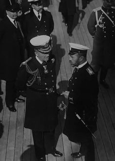 """Tsar Nicholas ll of Russia with Admiral of the Fleet John Arbuthnot Fisher at Reval in 1908. """"AL"""""""