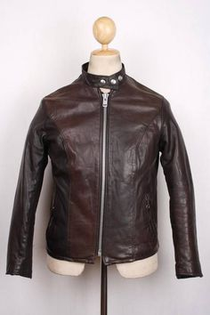 Vtg Womens SCHOTT Cafe Racer Leather Motorcycle Jacket Size 10