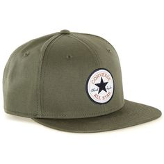 TOPMAN Converse Green Twill Snapback ($25) ❤ liked on Polyvore featuring men's fashion, men's accessories, men's hats, green and mens snapback hats