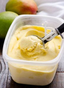 Mango Ice Cream recipe with no ice cream machine or churning needed. Naturally sweetened with mango and made creamy wit coconut milk gluten free vegan ice cream. | ifoodreal.com