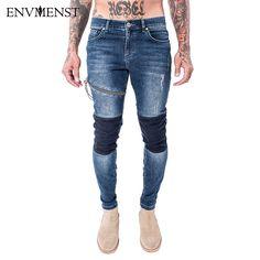 c9f8259f 2017 Autumn Fashion Patchwork Designed Men's Slim Fit High Street Jeans  Zipper Pencil Denim Pants Casual Biker Trousers Men-in Jeans from Men's  Clothing ...