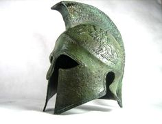 Armour & Weapons :: Full Size Helmets :: Ancient Greek life size helmet from the famous city of Sparta,dated 440 B.C. Exact museum reproduction, $599.00