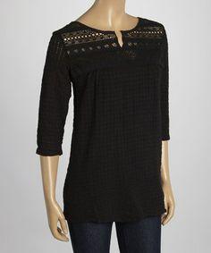 Loving this Black Crochet Grid Notch Neck Top on #zulily! #zulilyfinds