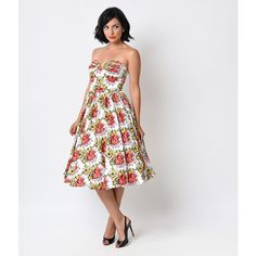 Unique Vintage 1950s Ivory Floral Dandridge Strapless Swing Dress ($50) ❤ liked on Polyvore featuring dresses, white, white floral dress, vintage cocktail dress, winter white dress, vintage dresses and white dress