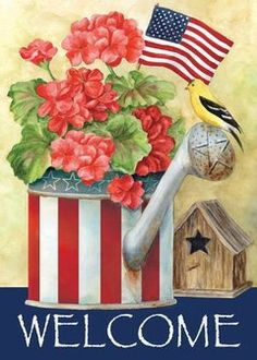 Toland - Patriotic Watering Can - Decorative Welcome America Red White Blue USA-Produced Garden Flag