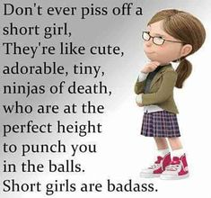 """Don't ever piss off a short girl. They are like cute, tiny, adorable ninjas of death, who are at the perfect height to punch you in the balls. Short girls are badass."""