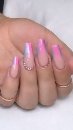 In seek out some nail designs and some ideas for your nails? Here is our list of must-try coffin acrylic nails for trendy women. Nail Design Glitter, Nail Design Spring, Ombre Nail Designs, Acrylic Nail Designs, Unicorn Nails Designs, Neon Pink Nails, Dark Pink Nails, Faded Nails, Purple Glitter Nails