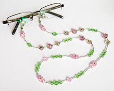 Pink Green Necklace Long Beaded Spring Jewelry - Lanyard Eyeglass Holder  ID Badge Bracelet 5-n-1 Transformer - Lampwork Swarovski Seed Bead