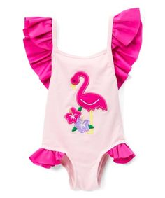ffe1967a8d5ae4 Smocked or Not | Pink Flamingo Appliqué One-Piece - Infant, Toddler & Girls