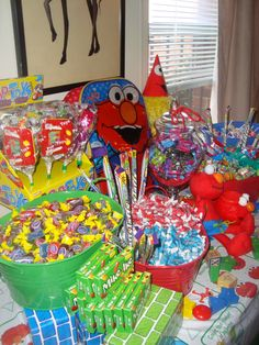 Here is a candy buffet I created for a 1st birthday party!! The kids had a Seseme Street good time!!