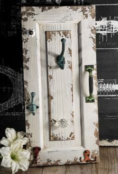 Antique Door Wall Rack with Hooks White - I would turn it horizontally and place the hooks so they were more usable - like this idea for making use of old doors and windows Cabinet Doors, Redo Furniture, Diy Furniture, Doors Repurposed, Wall Racks, Door Crafts, Cabinet Door Crafts, Cabinet Doors Repurposed, Doors