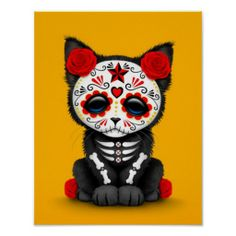 Cute Red Day of the Dead Kitten Cat, yellow Print