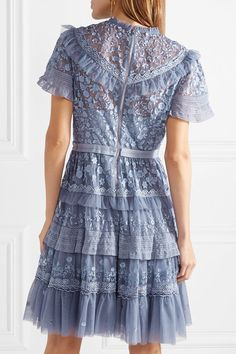 Iris Tiered Lace-trimmed Embroidered Tulle Mini Dress - Lavender Needle & Thread Jt0lFbP7