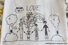 Turn Kid's art into tea towels! Fun DIY to do with the kids and great gift idea!
