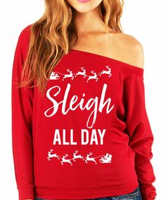 """SLEIGH ALL DAY"" Christmas Slouchy Sweatshirt Celebrate Christmas with this fun slouchy sweatshirt! Available in Sizes S, M, L, XL, 2XL Please see photo above for size measurements 50% Polyester 50% C"