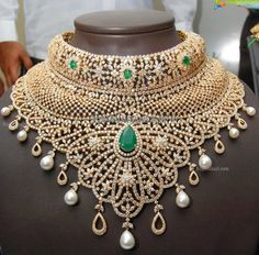 Diamond Necklace latest jewelry designs - Page 99 of 221 - Indian Jewellery Designs Diamond Pendant Necklace, Diamond Jewelry, Gold Jewelry, Fine Jewelry, Diamond Necklaces, Jewlery, Diamond Studs, Indian Jewellery Design, Latest Jewellery