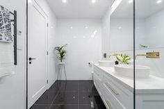 The Block 2016 - Week 3 Main Bathroom Reveals Family Bathroom, Laundry In Bathroom, Master Bathroom, Narrow Bathroom, Modern Bathroom, Bathroom Interior, The Block 2016, Bathroom Trends, Bathroom Ideas