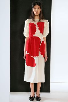 Tata Naka Spring / Summer 2015 | cool abstract red print on a white dress