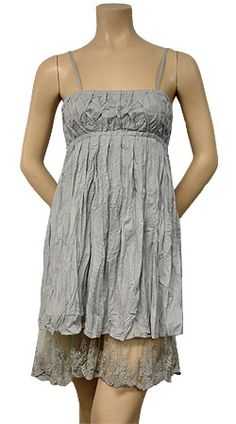 Crinkle Cotton Dress with Lace Hem ~ Love the added layer of lace!