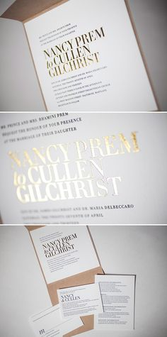 gold foil letterpress with clean type