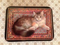 Leslie Anne Ivory Hunky Dory Designs Cat Tin made in England by SuperCoolVintage, $20.00